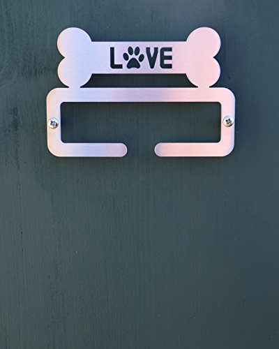 Hundeleine/Zubehör Halterung aus Edelstahl gebürstet 'Love Bone' Split Bar Design–Made in Großbritannien