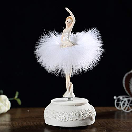 Caja de música Bailarina caja de música bailando niña cisne lago carrusel con pluma for regalo de cumpleaños regalo de cumpleaños regalo de cumpleaños regalo encantador regalo (Color : White)