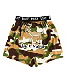 Lazy One Funny Animal Boxers, Novelty Boxer Shorts, Humorous Underwear, Gag Gifts for Men, Hunting, Camouflage (Buck Naked, Small)