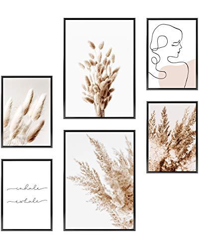 Heimlich Cuadros Decorativos - SIN Marcos - Decoración Colgante para Paredes de Sala, Dormitorios y Cocina - Arte Mural - 2 x A3 (30x42cm) et 4 x A4 (21x30cm) | »Pampas Boho Beige «