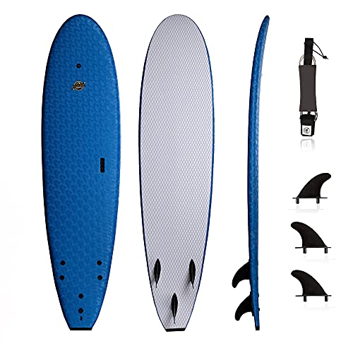 South Bay Board Co. - Premium Surfboard for Beginners – Wax-Free Soft-Top Foam Surfboard – 7' Ruccus - Blue - Fins & Leash Included –Custom Beginner Shape for Easier, Better Surfing for Adults & Kids