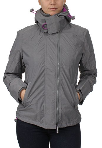 Superdry Jacke Damen POP Zip Hood Arctic Windcheater Light Grey Marl Orchid, Größe:L