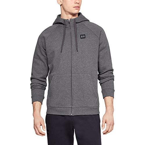 Under Armour Men's Rival Fleece Full Zip Hoodie , Charcoal Light Heather (020)/Black , Medium