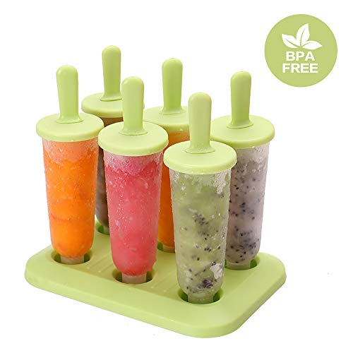 Moldes para Polos de Hielo Paquete de 6 Moldes para Helados de Hielo de Grado Alimenticio Libre de BPA Molde Helados de Hielo para Niños y Adultos