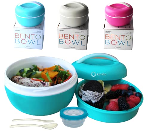 Bento Bowl Lunch Box for Salad, Meal Container with Leakproof Dressing Cup, Utensils for Women Adults Kids (Sea Blue)