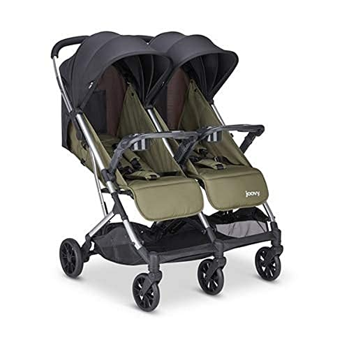 Joovy Kooper X2 Double Stroller, Lightweight Stroller, Compact Fold with Tray, Olive