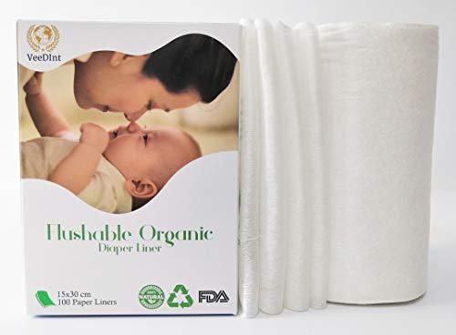 Veedint Forro desechable de bambú biodegradable, libre de productos químicos y seco, paquete de 100 hojas/rollo