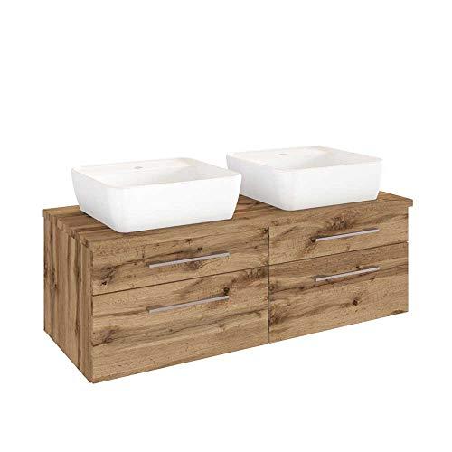 Pharao24 2 Personen Waschtisch mit Zwei Aufsatz-Waschbecken Wildeiche Dekor