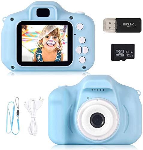 Cámara digital para niños EYOBE 2020 para niños con juegos, cámara rosa para niños con pantalla 1080P y tarjeta SD de 32GB, juguetes para niños al aire libre para niños Edad 4-5-6-7 años E01
