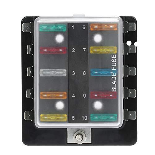 PKA 10-Wege-Sicherungskasten mit Kunststoffabdeckung für Auto, Boot, Boot, Boot, Boot, Boot, 12 V, 24 V