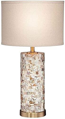 Fashion table lamp Lámpara de mesa de lino blanca americana Lámpara de mesa creativa cálida romántica lámpara de noche dorada cáscara de oro romántico simple de lujo de lujo luz para dormitorio decora
