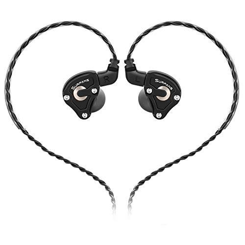 Surfans SE01 IEM Kopfhörer, Hochauflösender Hybrid-Treiber In-Ear-Monitore Kopfhörer, Geräuschisolierende, Tiefbassige, Kabelgebundene Ohrhörer mit Abnehmbarem 0,78 mm 2-Poligem Kabel