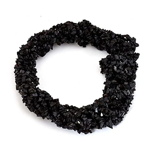 Crystallay 4-5MM de Piedras Preciosas de Ónix Negro Natural, Cuentas Sueltas de Artesanía de Piedra de viruta Irregular sin Cortar de Cristal para Hacer Joyas, 10 hebra de 36' Pulgadas