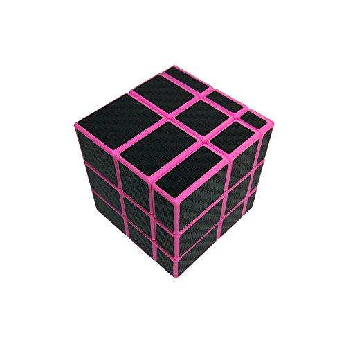 Wings of Wind - Smooth 3x3x3 Cubo mágico Desigual, Etiqueta de la Fibra del carbón 3x3 Cubo del Rompecabezas del Espejo (Rosado)