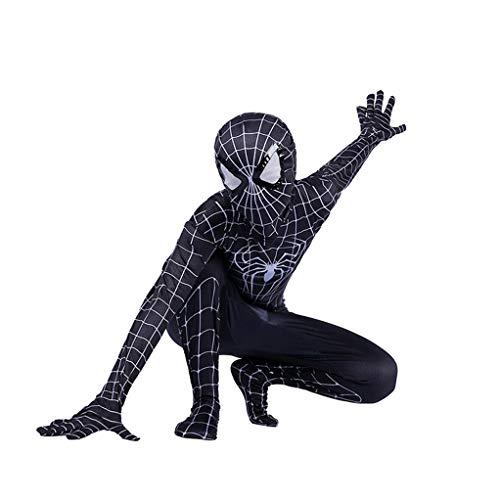 YEMAO Los nios los nios Spiderman hroe Expedicin Apretado Sorprendente Conjunto Juego de rol Vestido de Lujo de Ropa,Black- 130cm