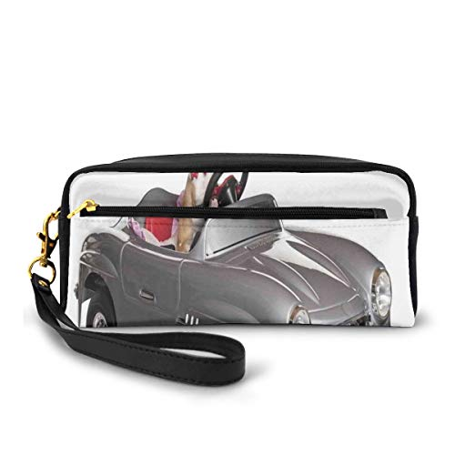 Pencil Case Pen Bag Pouch Stationary,Chihuahua Puppy In The Car With Bow Tie Fashion Auto Fancy First Studio Shot,Small Makeup Bag Coin Purse