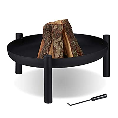 Relaxdays Fire Bowl 80 cm Diameter Includes Poker Fire Pit Garden & Patio Fire Basket Steel Black from Relaxdays
