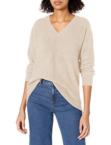 Jessica Simpson Women's Seana V Neck Tunic Sweater, Oatmeal, Small