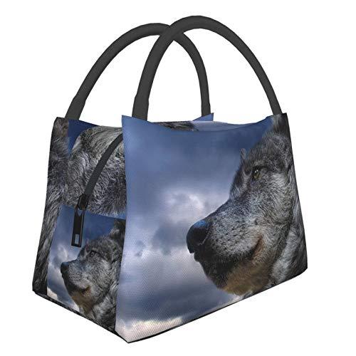 Bolsa de almuerzo reutilizable aislada, bozal de lobo con ojos de cielo de lobo duradera, bolsa de picnic ligera de gran capacidad, bolsa de aislamiento portátil para hombres y mujeres