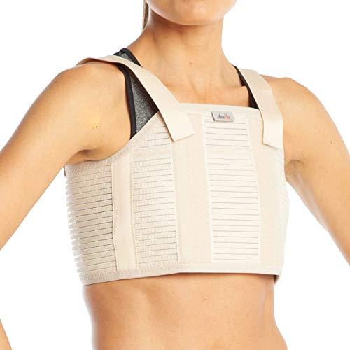 Borst Sternum Brace Protector Ondersteuning Verstelbare Riem Schouder Houding Corrector Terug Vest Lichaam voor Mannen Vrouwen Rond Ribs M Beige