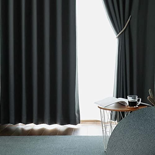グラムスタイル カーテン 遮光 1級 防音 遮熱 断熱 洗える 形状記憶 日本製【11色×140サイズ】 2枚組 ダークグレー (幅90cm×丈90cm)