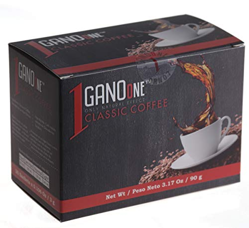 GanoOne Instant Black Coffee with Ganoderma - Reishi Mushroom Extract Breakfast Blend Sugar - Free 30 Single Serve Sachets (Pack of 1)