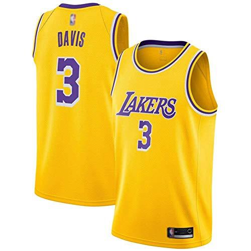 Camiseta para Hombre # 3 Anthony Davis NBA Los Angeles Lakers Camiseta Sin Mangas Unisex Uniforme De Baloncesto Swingman Jersey, Chaleco Deportivo,Amarillo,L