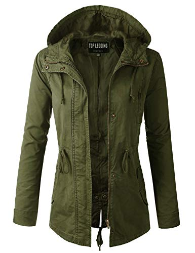 Anorak Jacket Women, Lightweight, Long Military Cargo Parka, Regular & Plus Size OLIVE MEDIUM