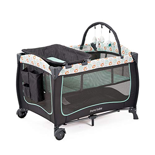 Deluxe Comfortable Playard,Sturdy Play Yard with Dolls (Green)