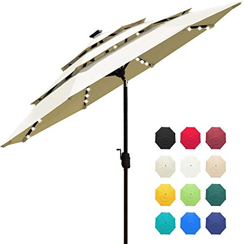 EliteShade Sunbrella Solar 9ft 3 Tiers Market Umbrella with 80 LED Lights Patio Umbrellas Outdoor Table with Ventilation and 5 Years Non-Fading Top,Natural