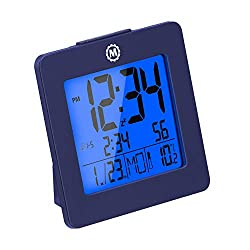 Marathon Digital Desktop Clock with Nightowl Super Glow Backlight CL030050FB (French Blue)