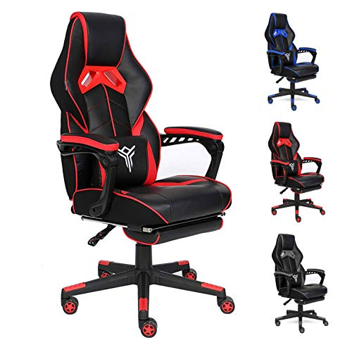 ELECWISH Computer Gaming Chair Reclining Ergonomic Racing Office Chair with Footrest High Back PU Leather Gaming Desk Chair Large Size E-Sport Chair with Lumba Support (Massage Red2)