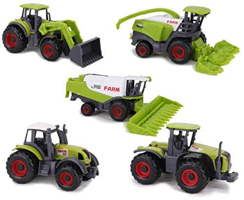 TOYLAND Set de 5 Juguetes de maquinaria agrícola de Metal Fundido a presión Verde - Aproximadamente 4,5 cm Cada uno - ¡Incluye Tractores, cosechadoras y más!