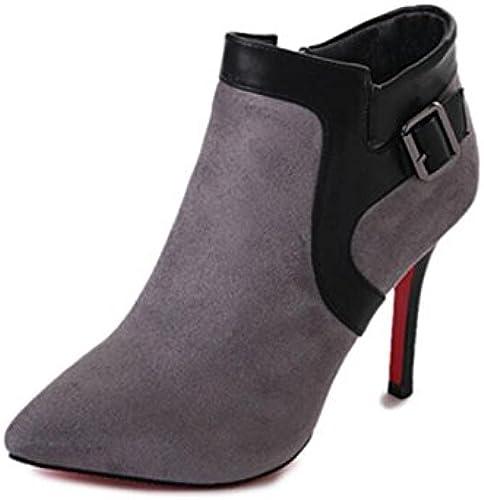 KHSKX-El Corrector De Color gris botas De Tacón Alto La Punta De La Hebilla De Terciopelo botas De Cremallera Lateral Bien Con Las mujeres 34