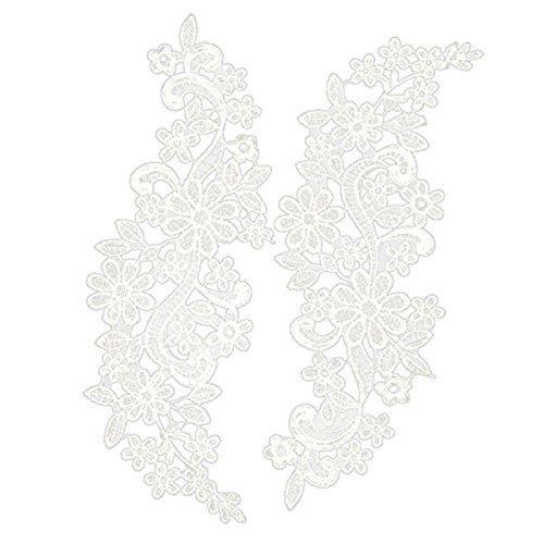 Pixnor Par de bordado escote hueco Collar flor del cordón costura de apliques adorno blanco