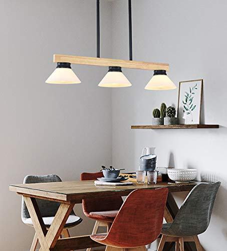 Moderne hanglamp met 3 spots, houten eettafel, creatief wit glas lampenkap hanger, rustieke stijl hanglamp, woonkamer restaurant eetkamer verlichting kroonluchter, E27-vat.