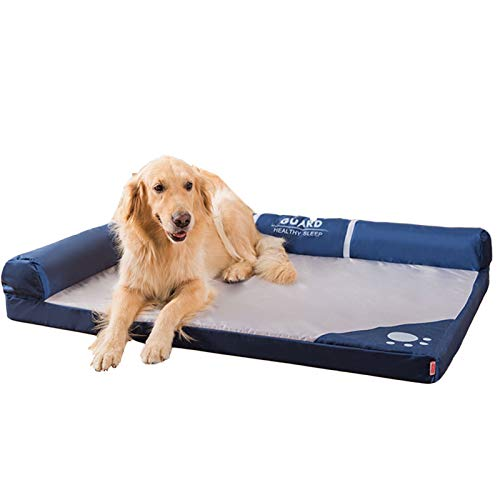 Perro cama Cama para perros para perros grandes, utilizando fibra de poliéster premium y tejido de algodón de alto conteo, cama de mascota ortopédica de espuma de memoria desmontable y lavable para un