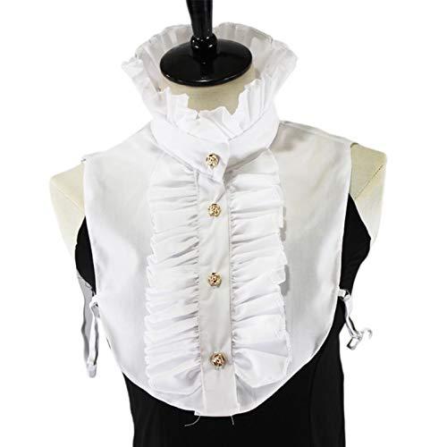 Ztengyu-Cuello de imitación Blusa para Mujer Stand-up Ruffles Fake Colllar, Media Camisa Vintage Cuello Falso Accesorios de Ropa