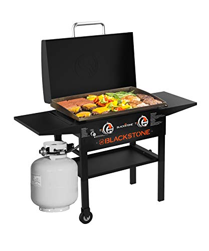 Blackstone 1883 Gas Hood & Side Shelves Heavy Duty Flat Top Griddle Grill Station for Kitchen, Camping, 28 Inch Griddles