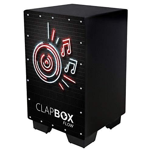 Clapbox Flow Graphic Cajon CB-FLW8, Walnut wood (H:50 W:30 L:30) - 3 Internal Snares, Black (Disco)