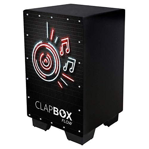 Clapbox Flow Graphic Cajon CB-FLW8, Walnut wood (H:50 W:30 L:30) - 3 Internal Snares, Black (Disco)