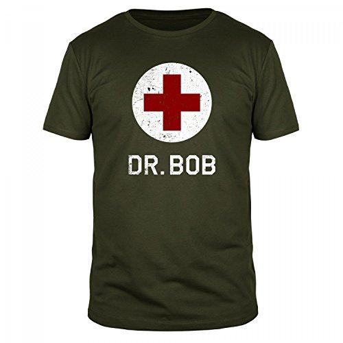 FABTEE - Dr Bob - Herren T-Shirt Größen S-3XL, Größe:M, Farbe:Oliv