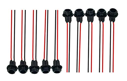 VNDEFUL 10 Pcs Car Truck Motorbike T10 W5W 194 LED Light Bulb Socket Pre-Wired Connector