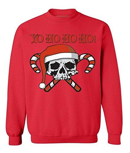 Yo Ho Ho Ho Devil Skull Santa Ugly Christmas Sweater - Xmas Theme Holiday Season Funny Sweatshirt Red 3XL