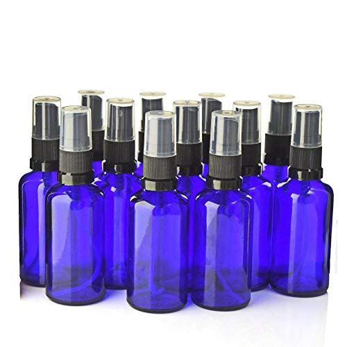 JFPA Glass Spray Bottle Empty Refillable Black Fine Mist Sprayer Bottles for Essential Oils Aromatherapy Perfume