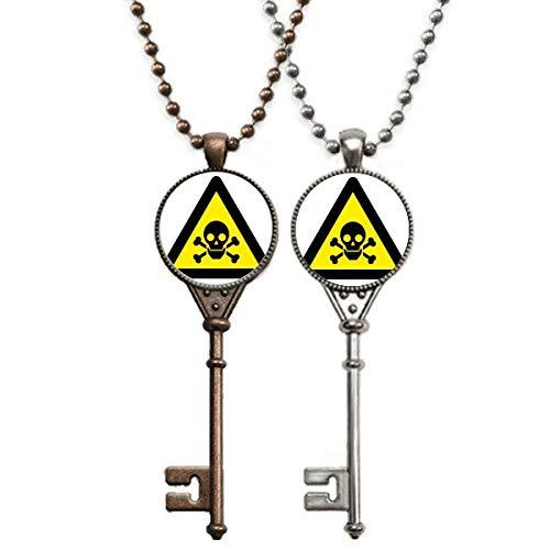 Halskette mit Anhänger, Warnsymbol, Gelb / Schwarz, vergiftet, dreieckig, Schlüssel-Halskette mit Anhänger, Schmuck für Paare, Dekoration
