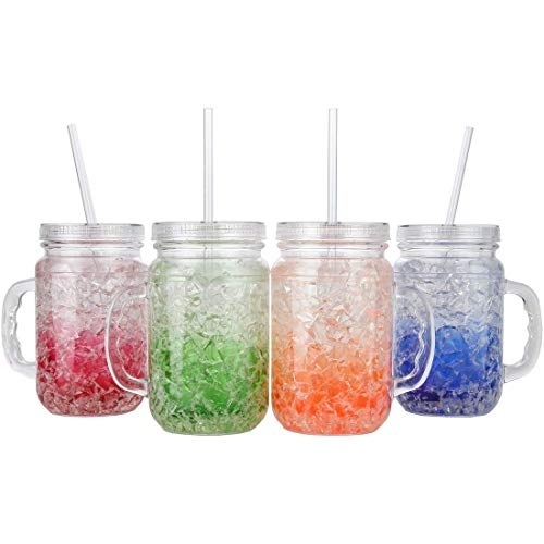 Lily's Home Double Wall Gel-Filled Acrylic Freezer Mason Jar Mugs with Lids and Straws, Great as Old Fashion Drinking Glasses at BBQs and Parties, Assorted Colors (18 oz. Each, Set of 4)