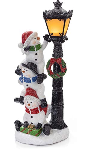 VP Home Christmas Snowman Trio with LED Glowing Lamppost Holiday Light