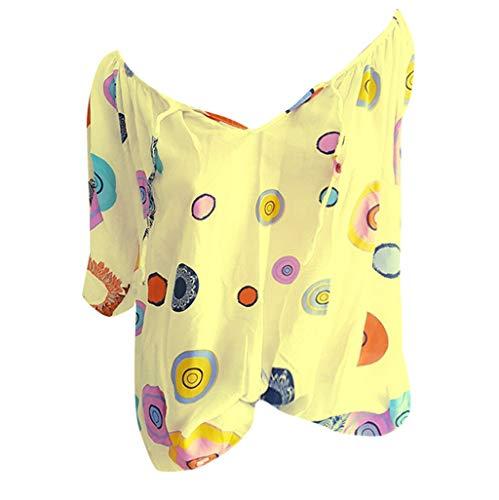 Shinehua Elegante blouses met V-hals voor dames, oversized T-shirt, lange mouwen, grote maten, tuniek-shirts, tops, bandage, kant, top, feestelijk blousenshirt, bikinitop Large geel