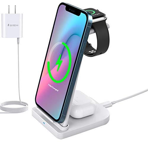 Estación de Carga inalámbrica rápida Desmontable 3 en 1 Compatible con iPhone 12 11 Pro MAX X XR XS 8 Samsung Galaxy S20 + S10 S9 Airpods 2 / Pro, iWatch 6/5/4/3/2 (White)
